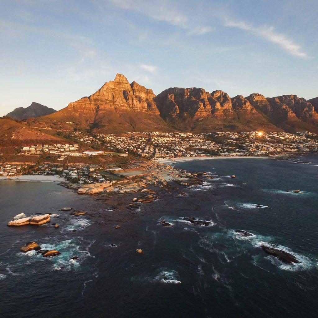 Kaapstad vanaf de zee Zuid Afrika