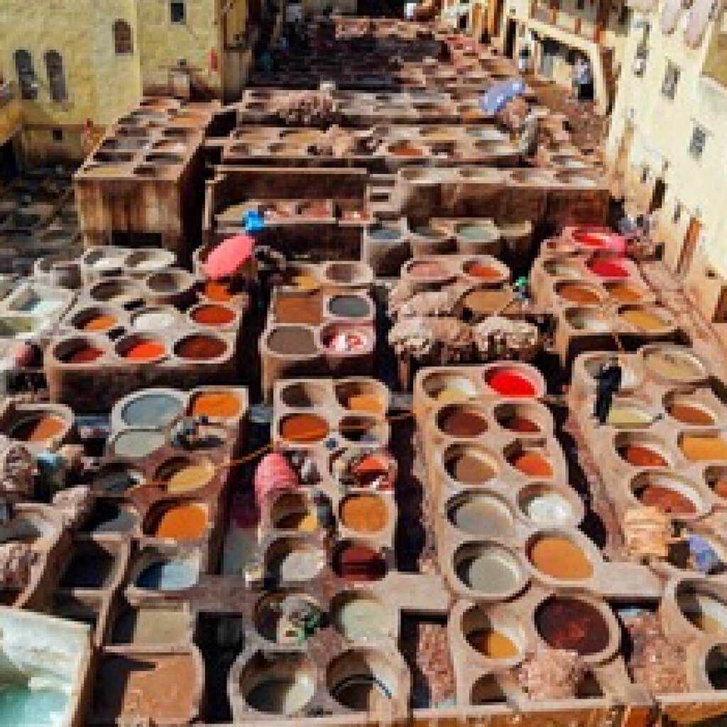 Leerlooiers Fez Marokko Afrika